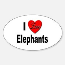 I Love Elephants Oval Decal