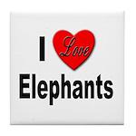 I Love Elephants Tile Coaster