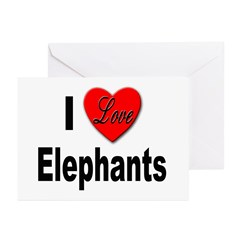I Love Elephants Greeting Cards (Pk of 10)