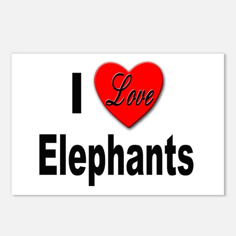 I Love Elephants Postcards (Package of 8)