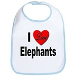 I Love Elephants Bib