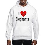 I Love Elephants (Front) Hooded Sweatshirt