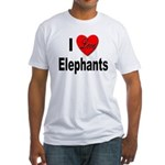 I Love Elephants (Front) Fitted T-Shirt