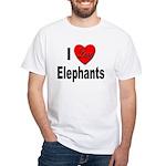 I Love Elephants (Front) White T-Shirt