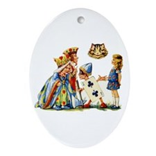 QUEEN & CHESHIRE CAT Oval Ornament