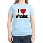 I Love Whales (Front) Women's Pink T-Shirt