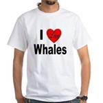 I Love Whales (Front) White T-Shirt