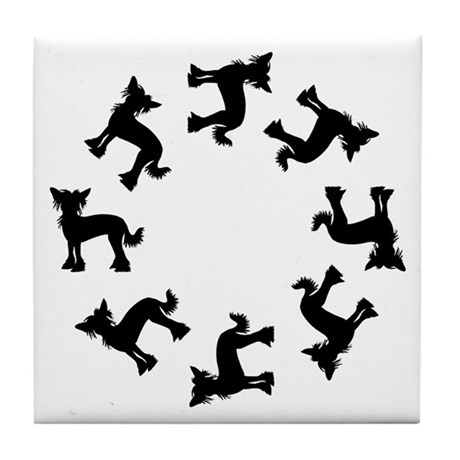Chinese Crested Circle Tile Coaster