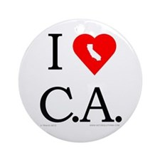 I Love CA Ornament (Round)