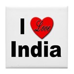 I Love India Tile Coaster