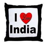 I Love India Throw Pillow