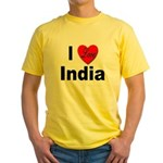 I Love India (Front) Yellow T-Shirt