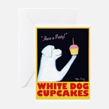 White Dog Cupcakes Greeting Card