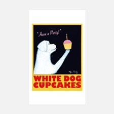 White Dog Cupcakes Sticker (Rectangle 10 pk)