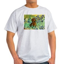 Irises & Dachshund (#1) Ash Grey T-Shirt