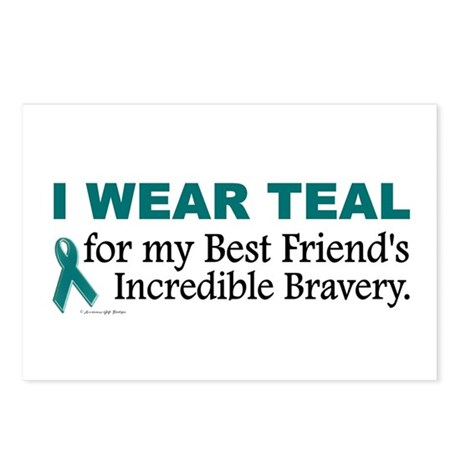 Teal For My Best Friend's Bravery 1 Postcards (Pac