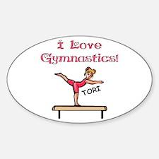 I Love Gymnastics (Tori) Oval Decal
