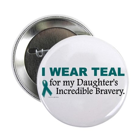 """Teal For My Daughter's Bravery 1 2.25"""" Button"""