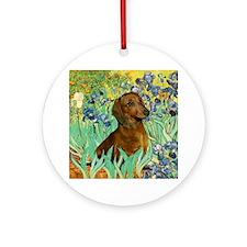 Irises & Dachshund (#1) Keepsake (Round)