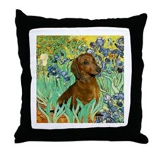 Irises & Dachshund (#1) Throw Pillow