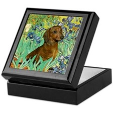 Irises & Dachshund (#1) Keepsake Box
