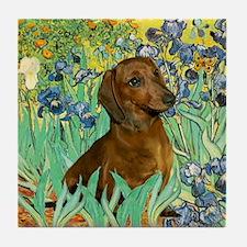 Irises & Dachshund (#1) Tile Coaster