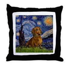 Starry Night & Dachs (#1) Throw Pillow