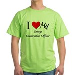 I Heart My Energy Conservation Officer Green T-Shi