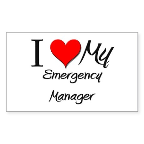I Heart My Emergency Manager Rectangle Sticker