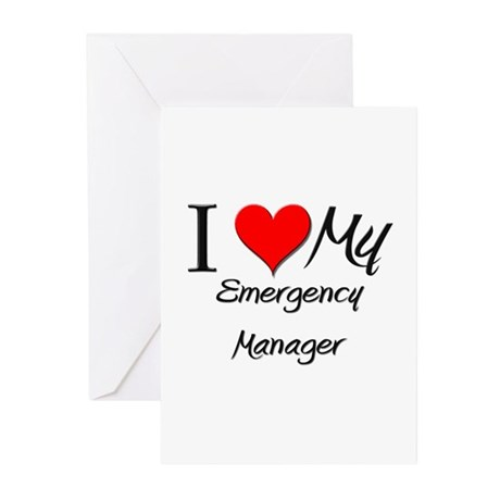 I Heart My Emergency Manager Greeting Cards (Pk of