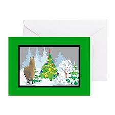 Christmas Tree Alpaca Christmas Greeting Card