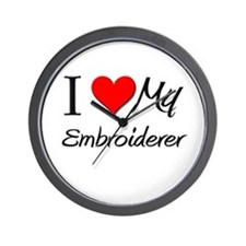I Heart My Embroiderer Wall Clock