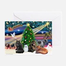 Xmas Magic/5 Persian Cats Greeting Card
