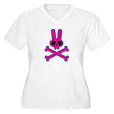 Pink Blue Bunny Rabbit Skull T-Shirt