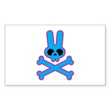 Blue Pink Bunny Rabbit Skull Rectangle Decal
