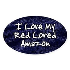 Funky Love Red Lored Amazon Oval Decal