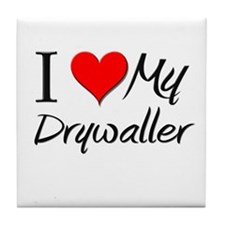 I Heart My Drywaller Tile Coaster