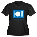 I Eat Vegetarians Women's Plus Size V-Neck Dark T-