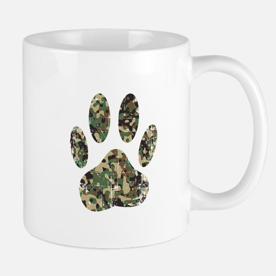 Distressed Camo Dog Paw Print Mugs