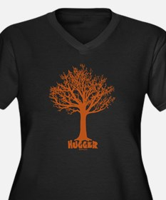 TREE hugger (red) Women's Plus Size V-Neck Dark T-