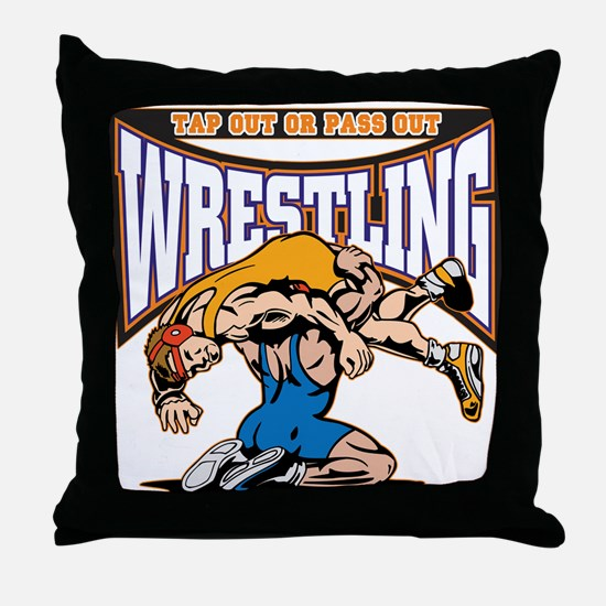 Tap Out or Pass Out Wrestling Throw Pillow