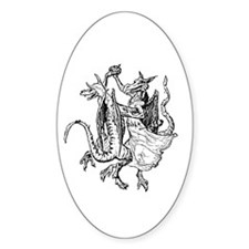 Dancing Dragons v2 Oval Decal