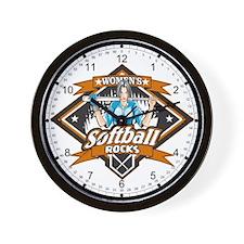 Women's Softball Rocks Wall Clock