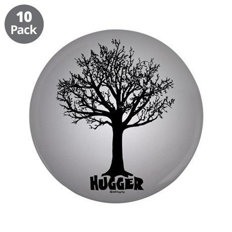 "TREE hugger (black) 3.5"" Button (10 pack)"