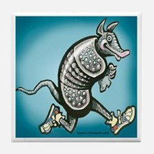 Cute Running armadillo Tile Coaster