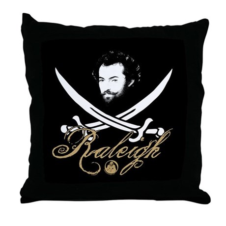 Raleigh Pirate Insignia Throw Pillow by shakespeareink
