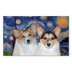 Starry Night / Corgi pair Sticker (Rectangle)