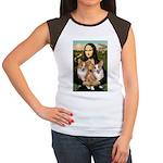 Mona / Corgi Pair (p) Women's Cap Sleeve T-Shirt