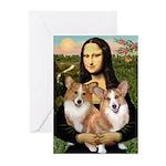 Mona / Corgi Pair (p) Greeting Cards (Pk of 20)