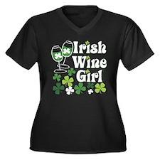 Irish Wine Girl Women's Plus Size V-Neck Dark T-Sh